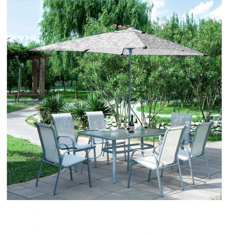 Ensemble Table de jardin + 6 fauteuils Carry gris (sans parasol)