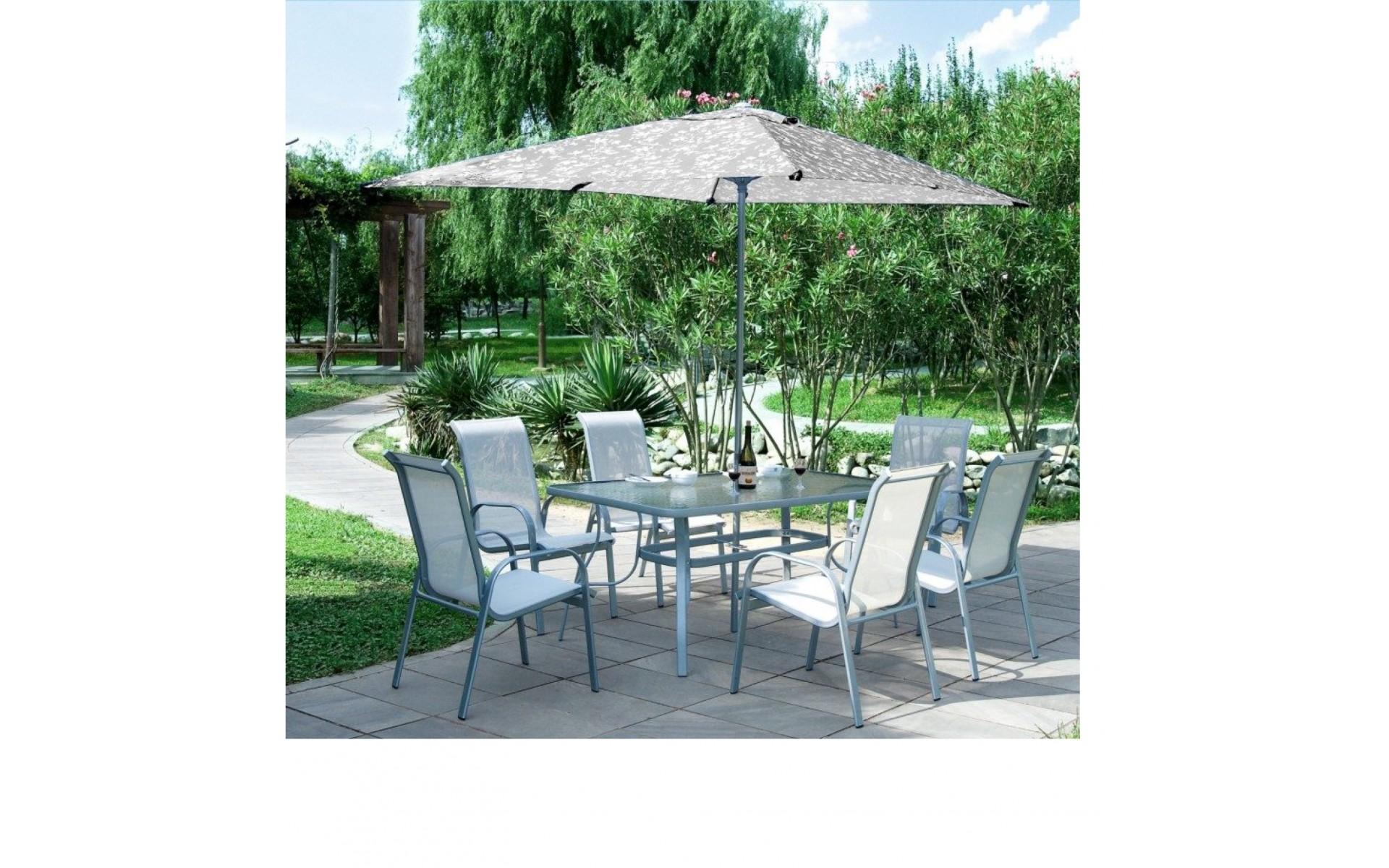 Ensemble Table De Jardin 6 Fauteuils Carry Gris Sans Parasol
