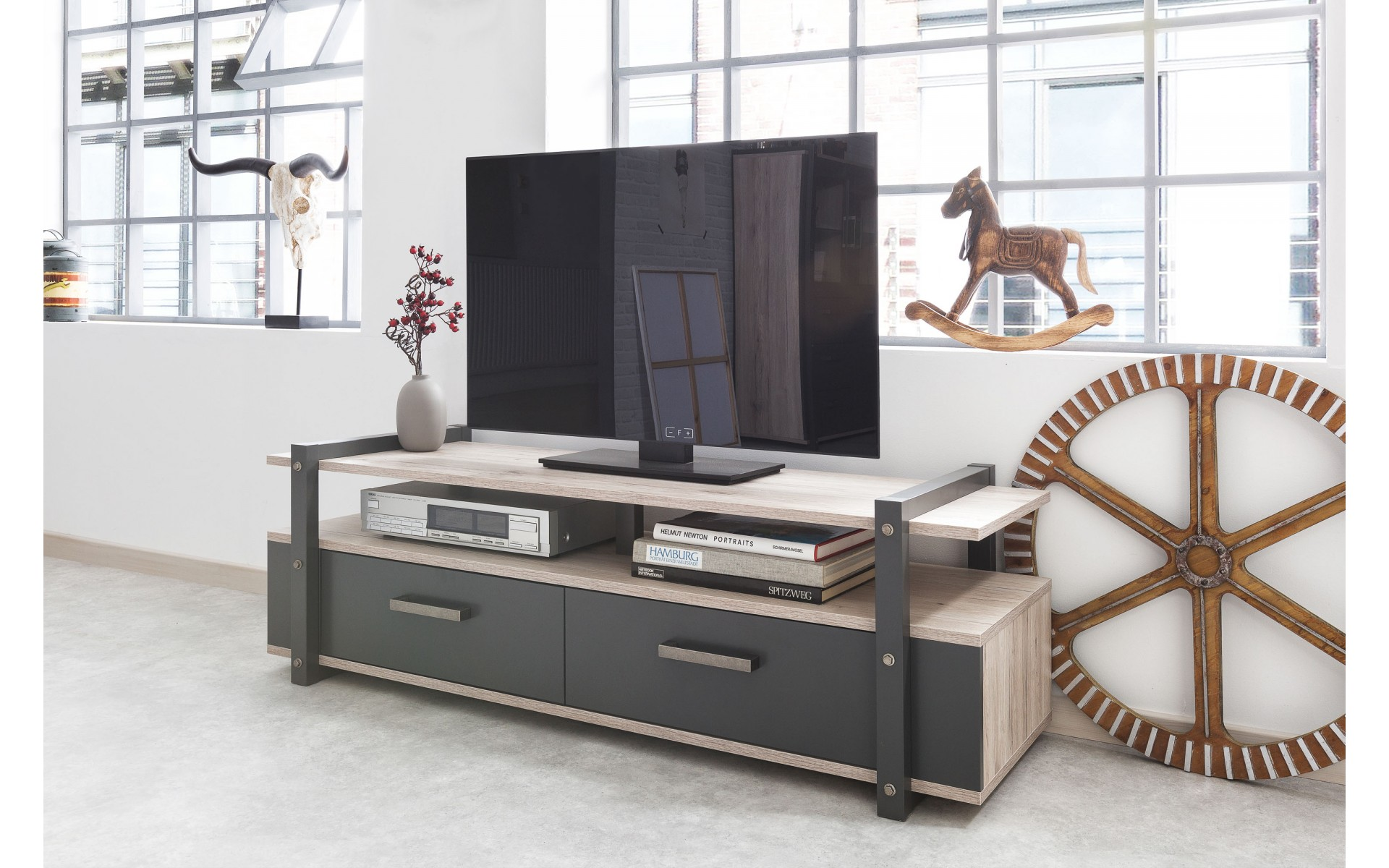 meuble tv de style industriel brooklyn top d co. Black Bedroom Furniture Sets. Home Design Ideas