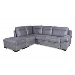 Canapé d'angle gauche convertible Jessica gris