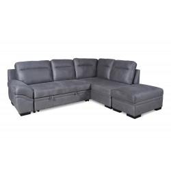 Canapé d'angle droit convertible Jessica gris
