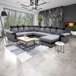 Canapé d'angle réversible MOCCA gris clair/noir