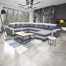 Canapé d'angle réversible MOCCA gris clair/blanc