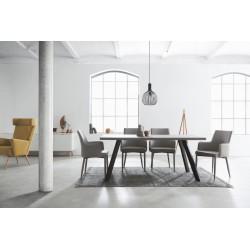 TABLE À MANGER BETON/PIEDS NOIR MARBURG