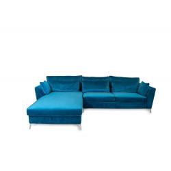 Canapé d'angle gauche bleu canard ISLA
