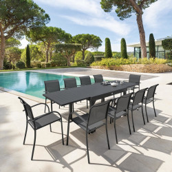 Table de jardin extensible Piazza Graphite 10 places (Exclusivité magasin)