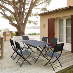 Table de jardin pliante rectangulaire Azua Graphite 6 places (Exclusivité magasin)